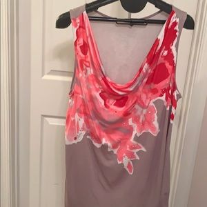 Inc dressy tank top in grey with pink flowers 2X